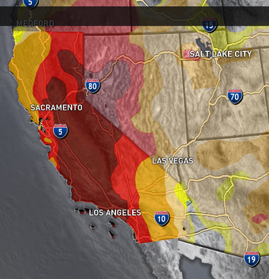 Drought Map showing drought areas in California